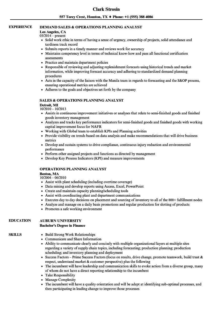 Operations Planning Analyst Resume Samples Velvet Jobs