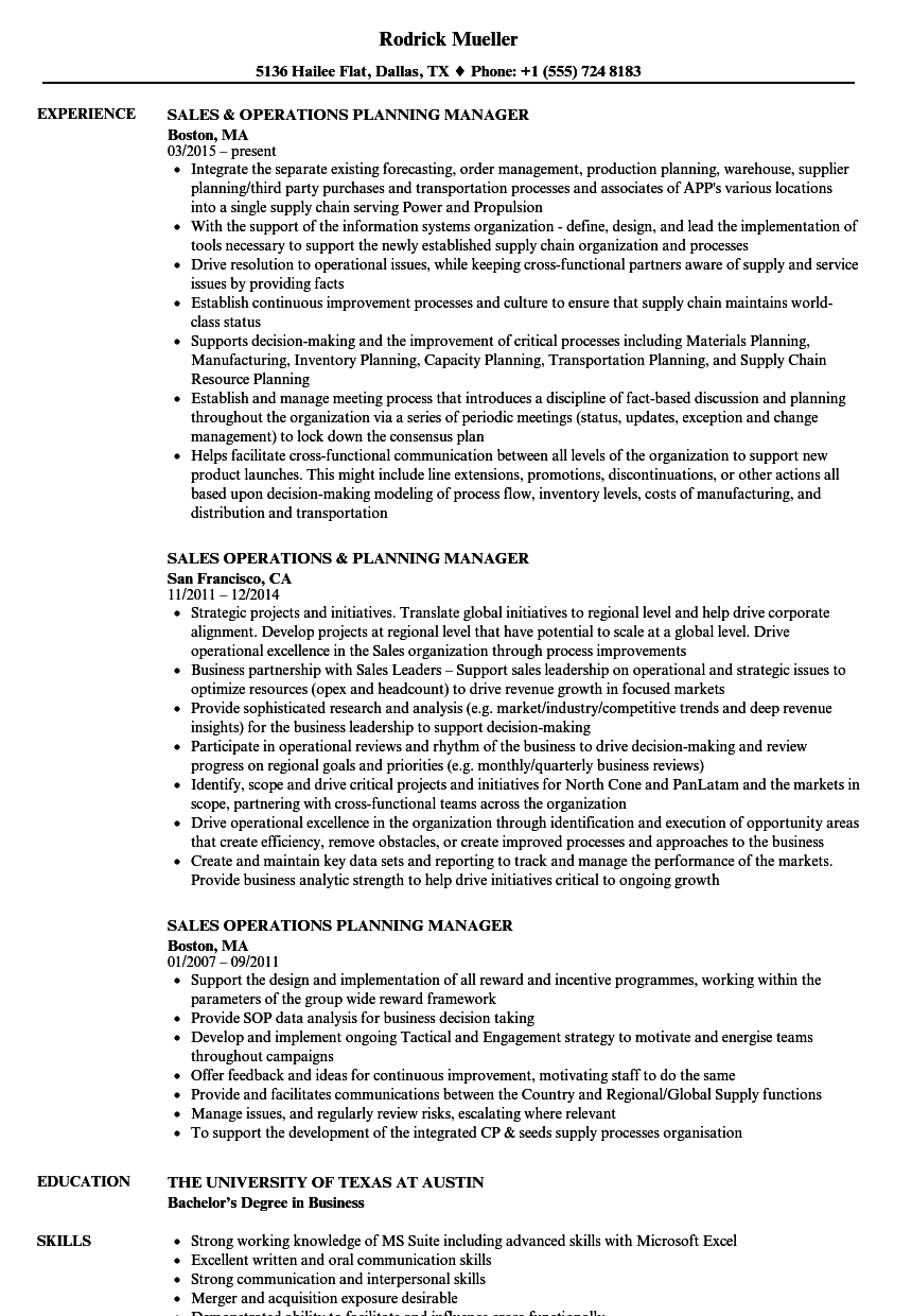 Operations Planning Manager Resume Samples | Velvet Jobs