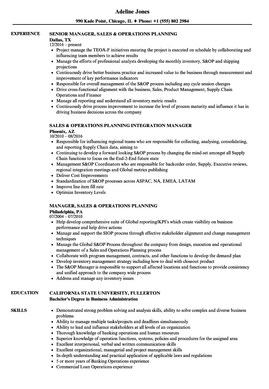 operations planning resume samples