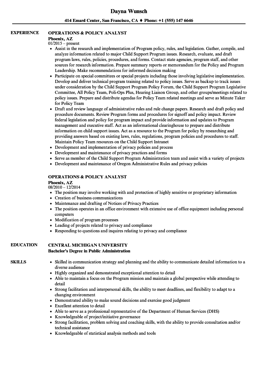 Operations & Policy Analyst Resume Samples | Velvet Jobs