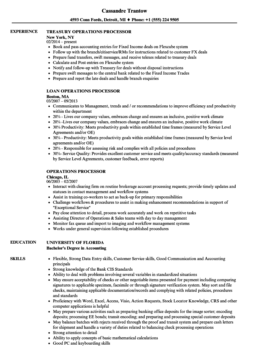 operations processor resume samples