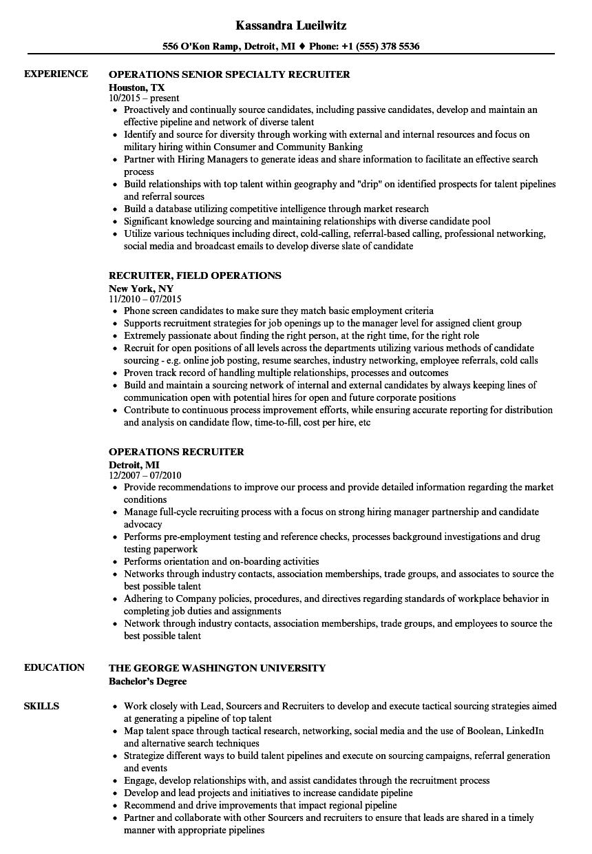 Operations Recruiter Resume Samples | Velvet Jobs