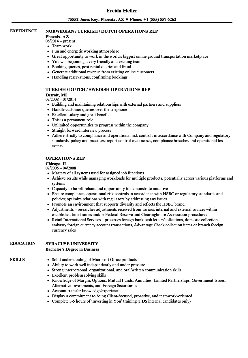 Operations Rep Resume Samples | Velvet Jobs