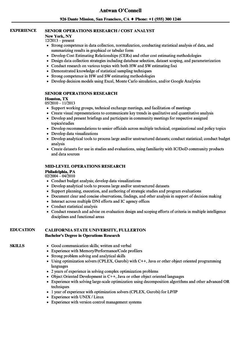 Related Job Titles Operations Research Analyst Resume Sample