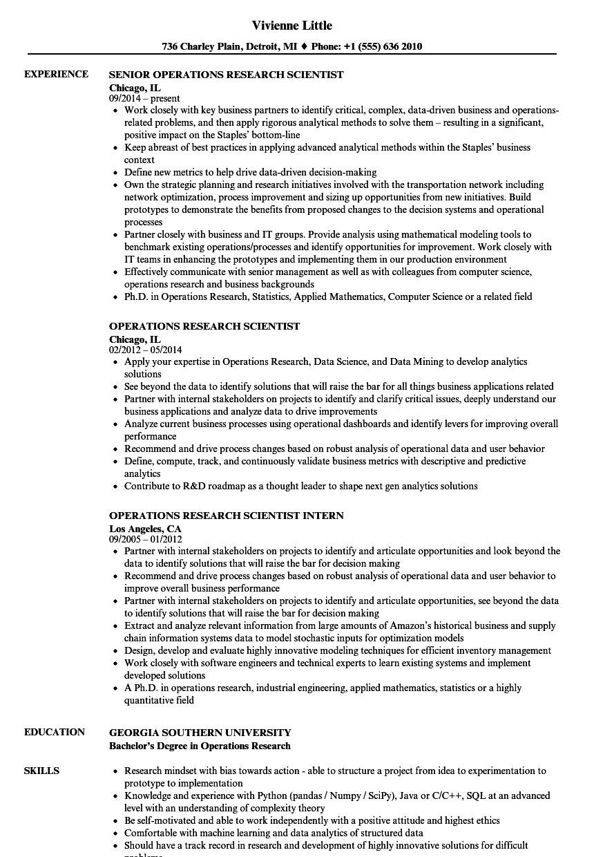 Download Operations Research Scientist Resume Sample As Image File