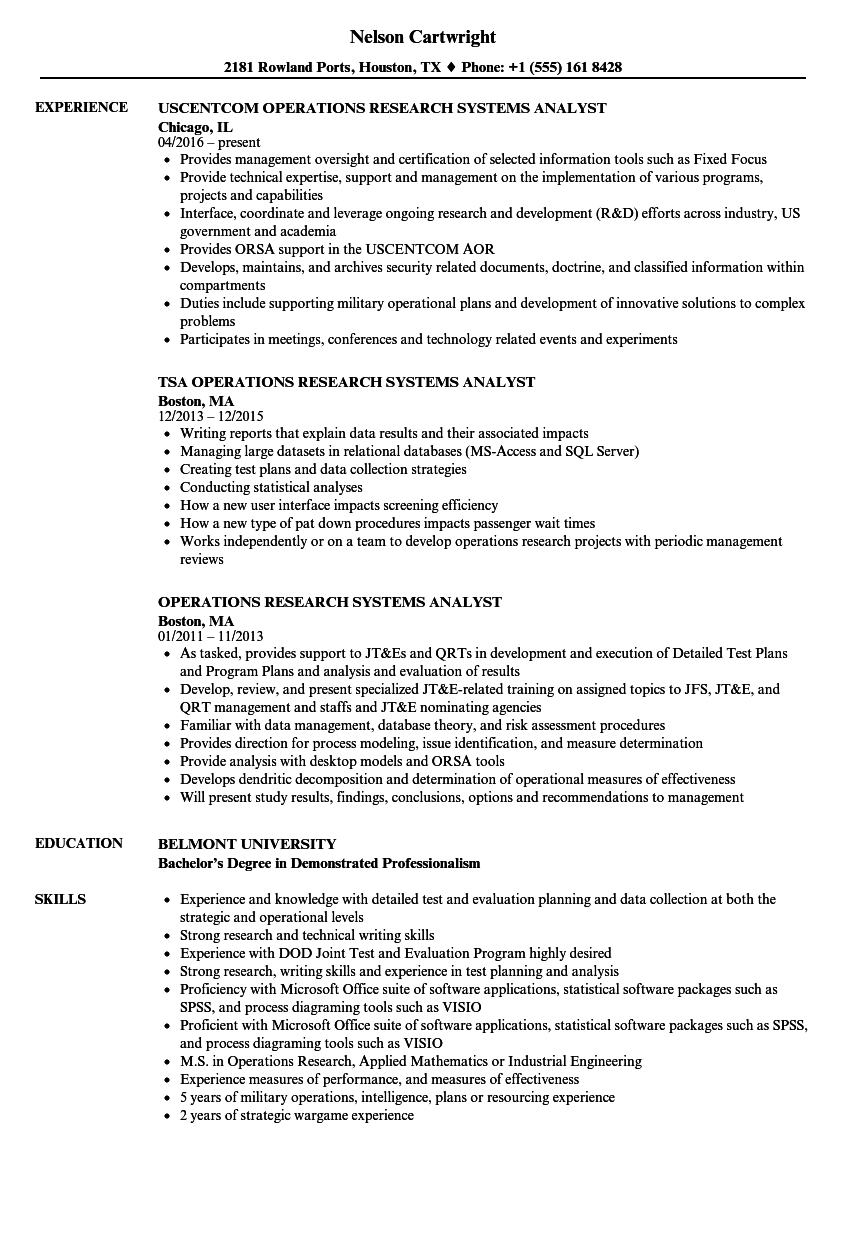 operations research systems analyst resume samples