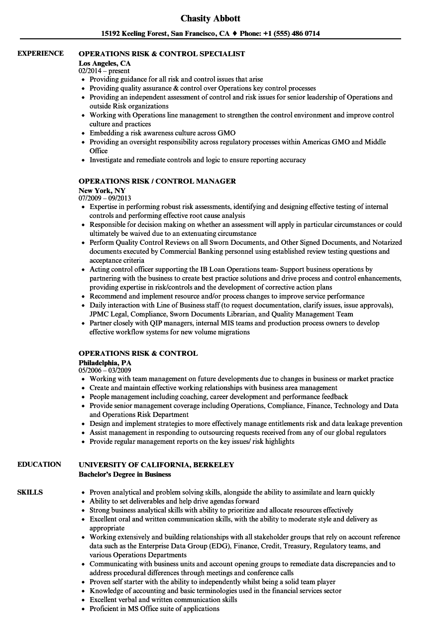 operations risk control resume samples