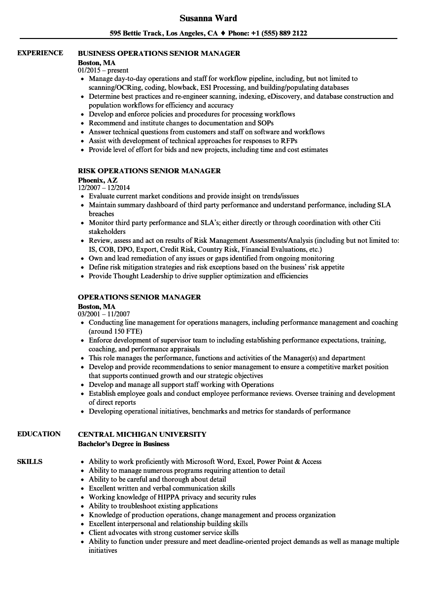 operations senior manager resume samples