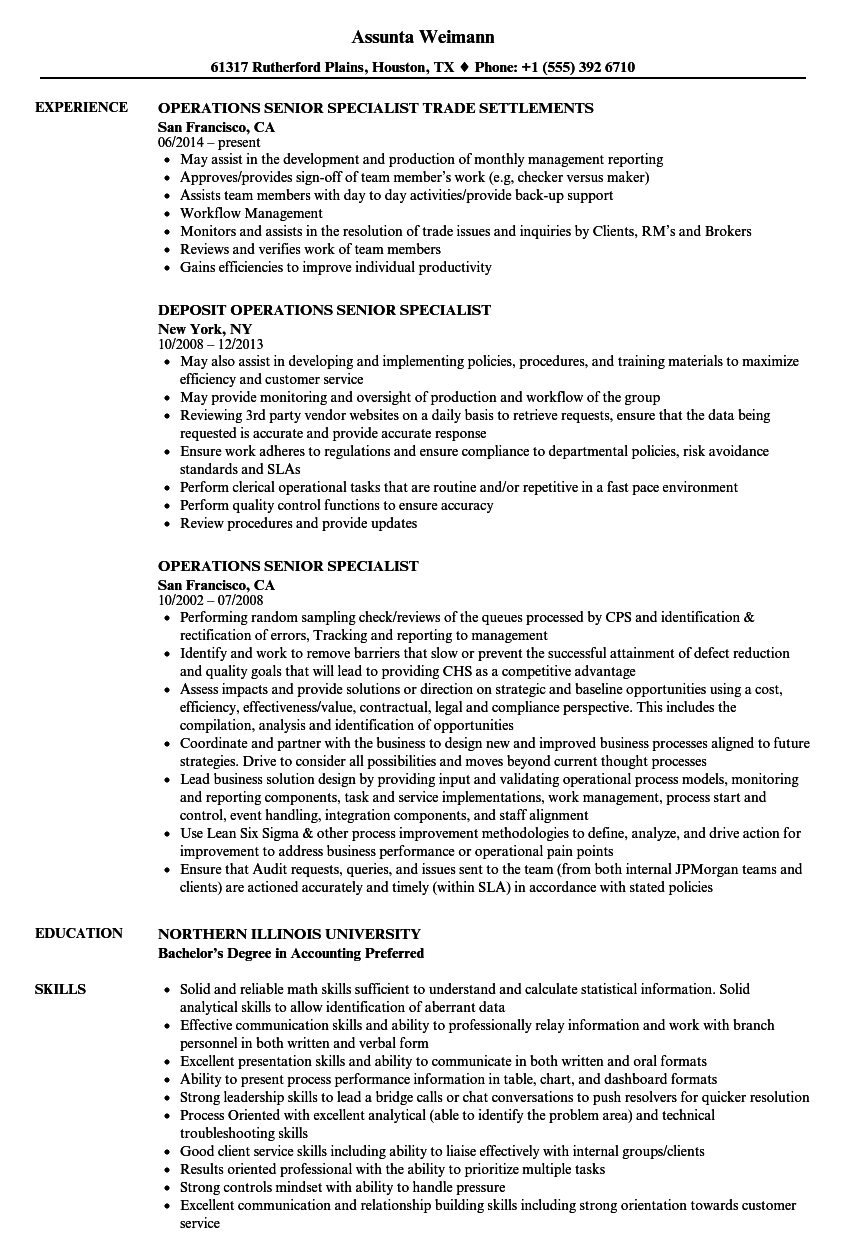 Operations Senior Specialist Resume Samples Velvet Jobs