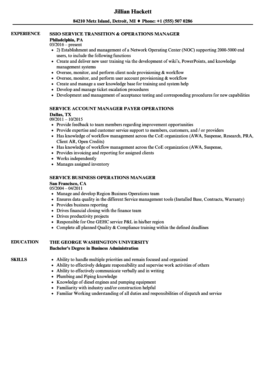 Operations & Service Manager Resume Samples | Velvet Jobs