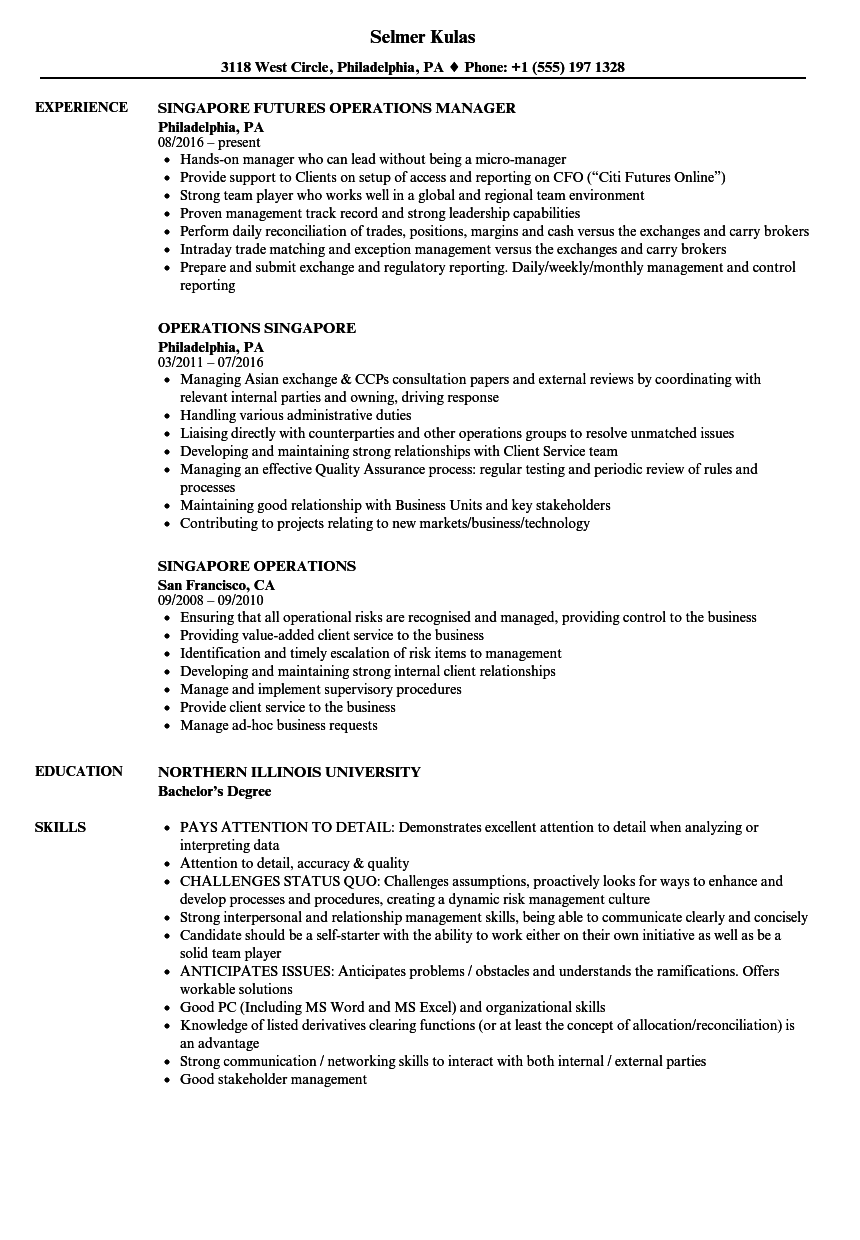 download operations singapore resume sample as image file - Singapore Resume Sample Download