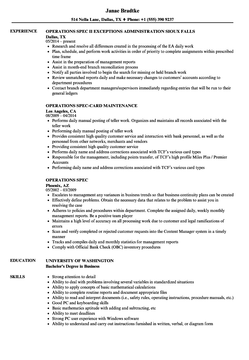 operations spec resume samples