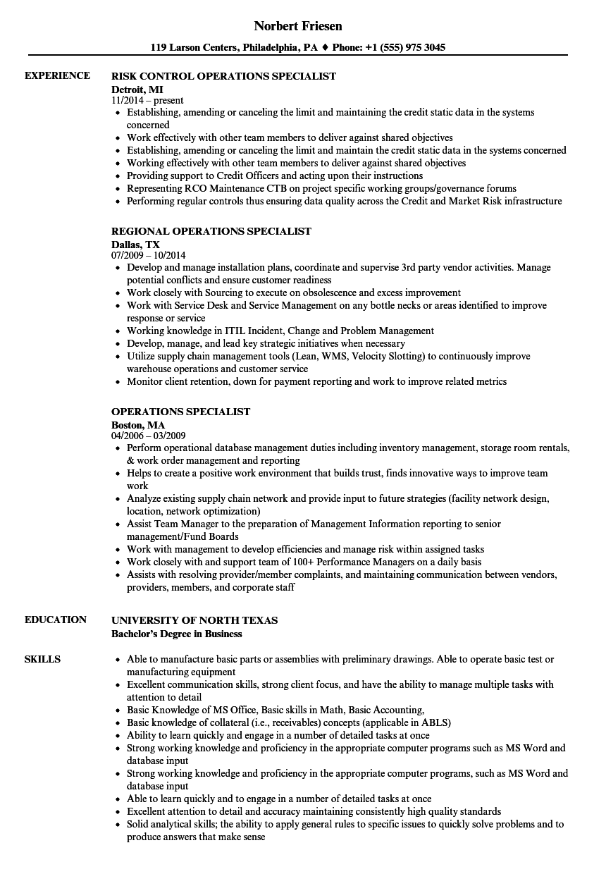 Operations Specialist Resume Samples | Velvet Jobs