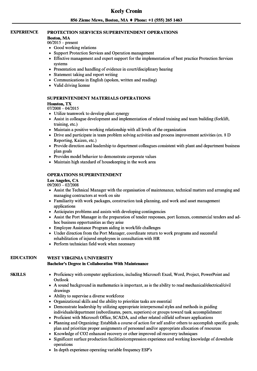 Operations Superintendent Resume Samples Velvet Jobs