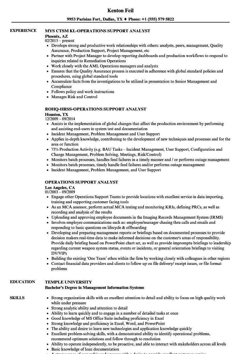 Operations Support Analyst Resume Samples | Velvet Jobs