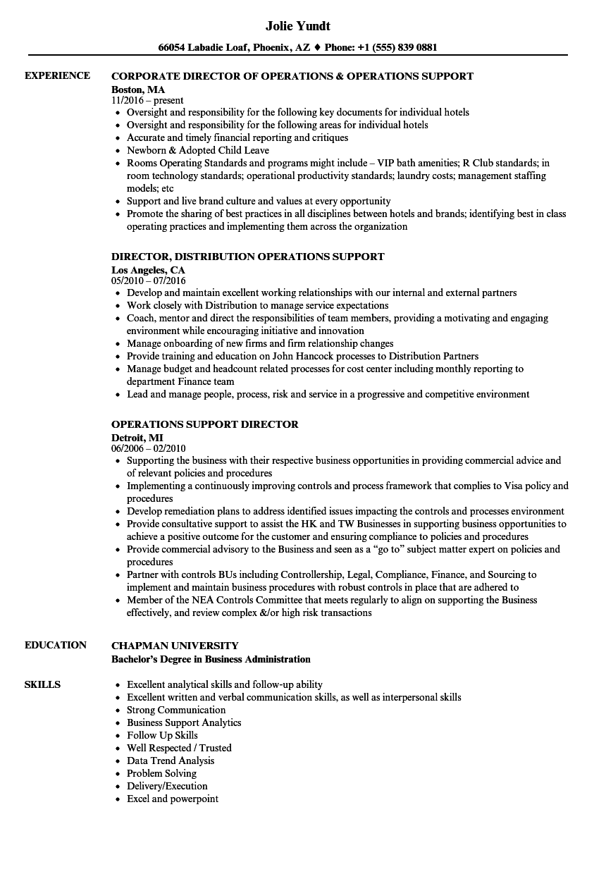 operations support director resume samples