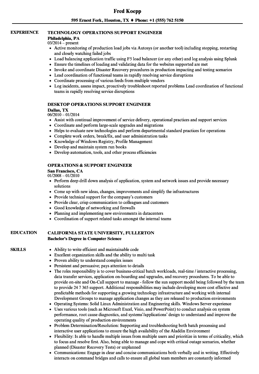 Operations Support Engineer Resume Samples Velvet Jobs