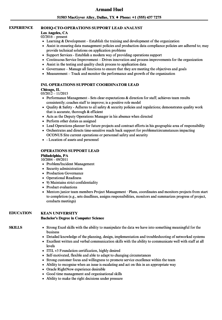 Related Job Titles. Operations Support Analyst Resume Sample