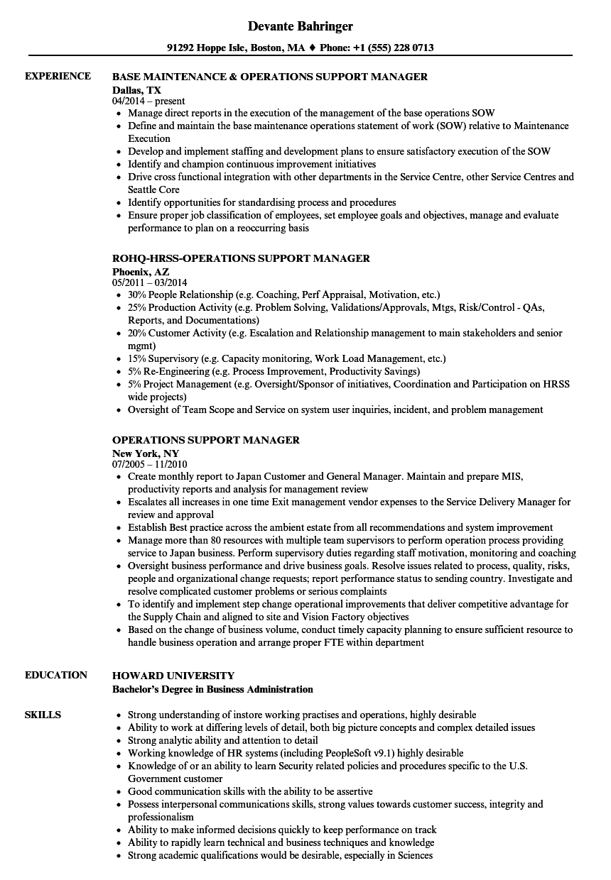 Operations Support Manager Resume Samples | Velvet Jobs