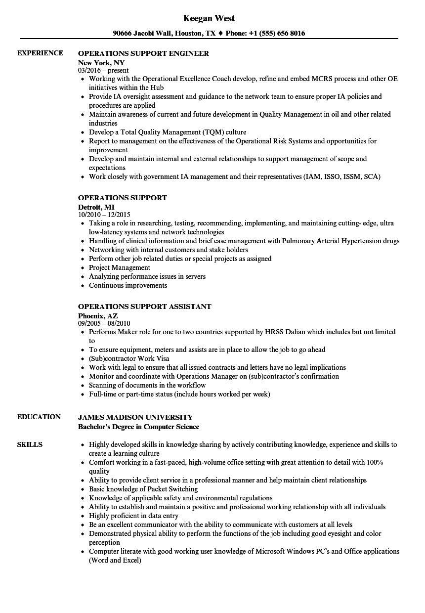 Operations Support Resume Samples Velvet Jobs