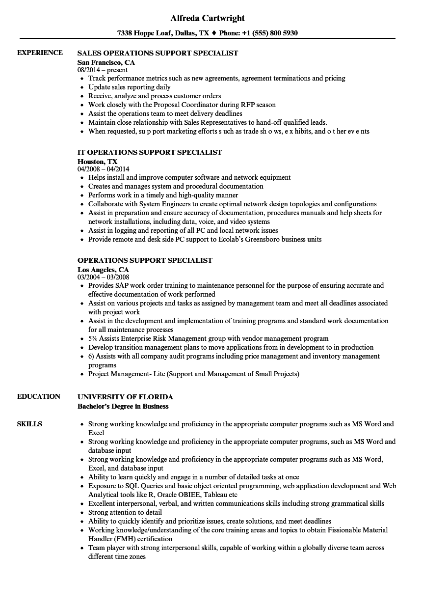 Operations Support Specialist Resume Samples Velvet Jobs