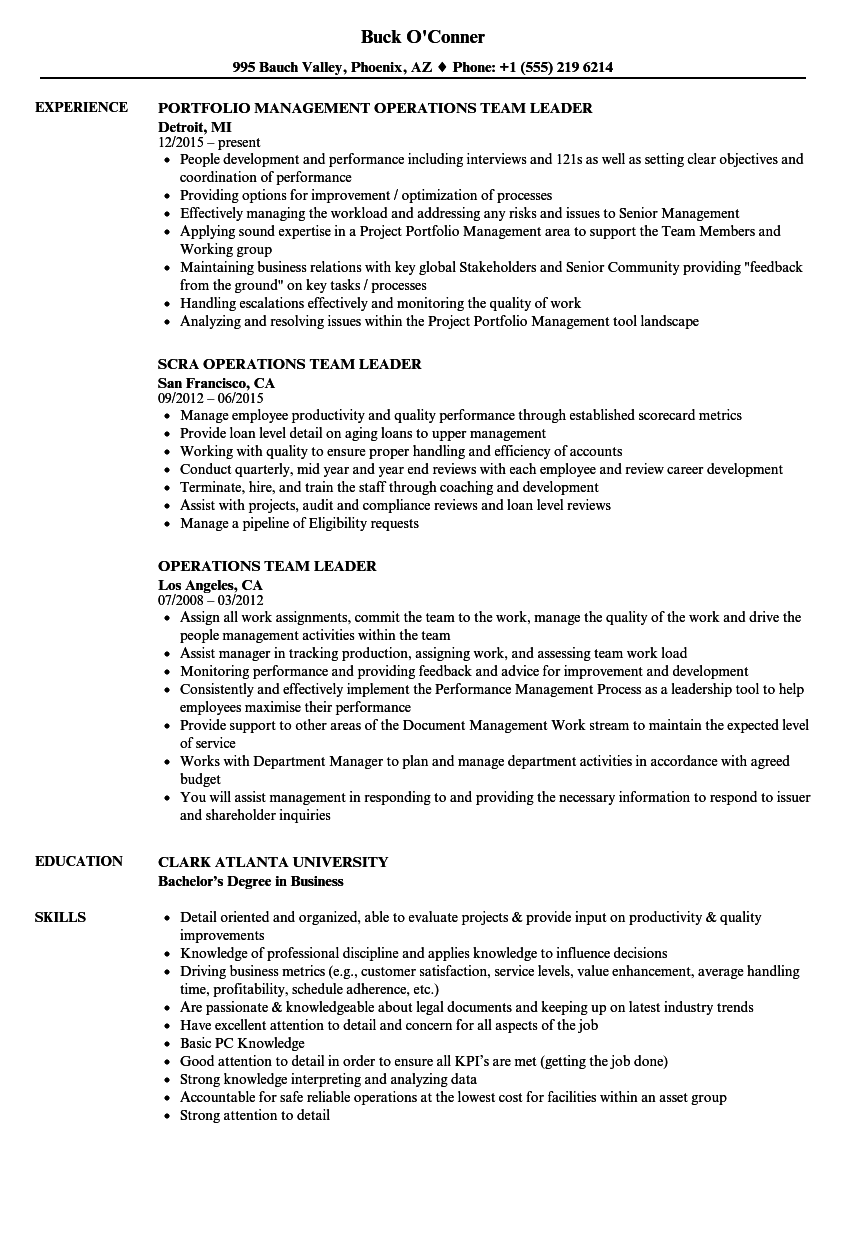 operations team leader resume samples velvet jobs