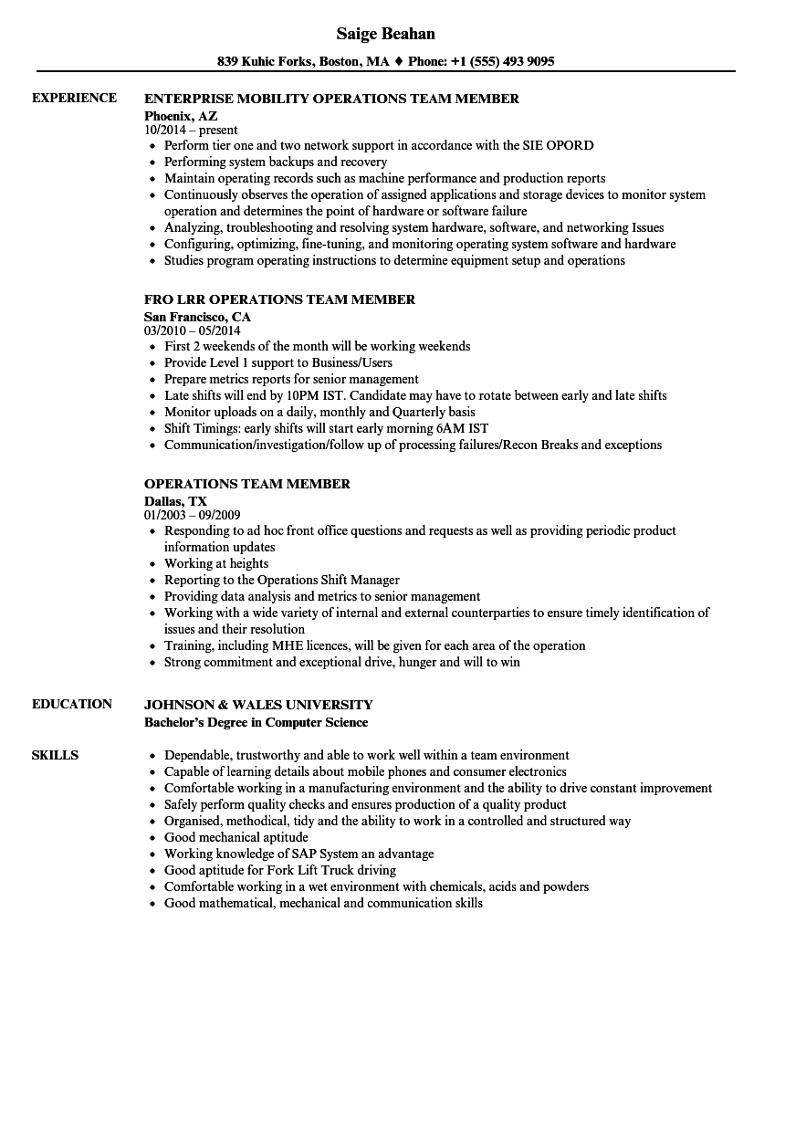 Operations Team Member Resume Samples