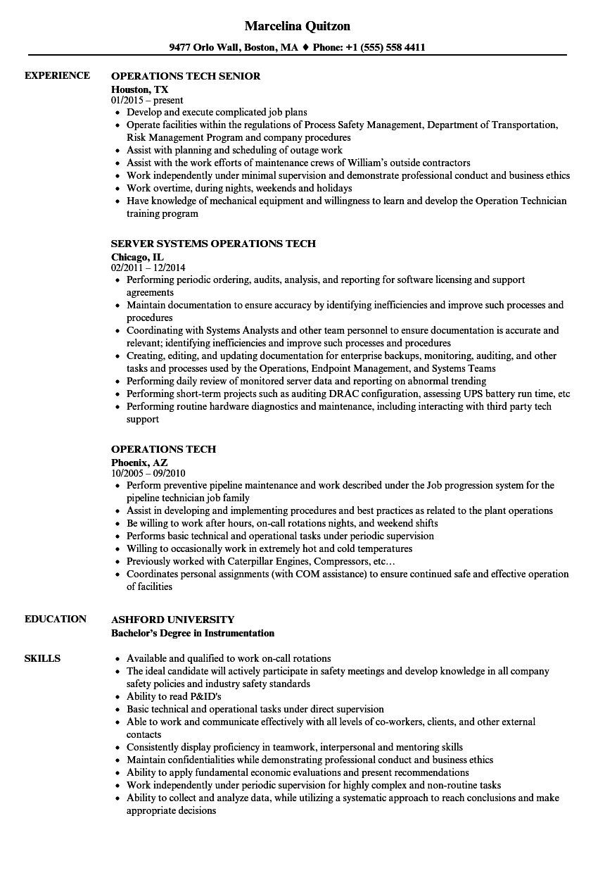 Download Operations Tech Resume Sample As Image File