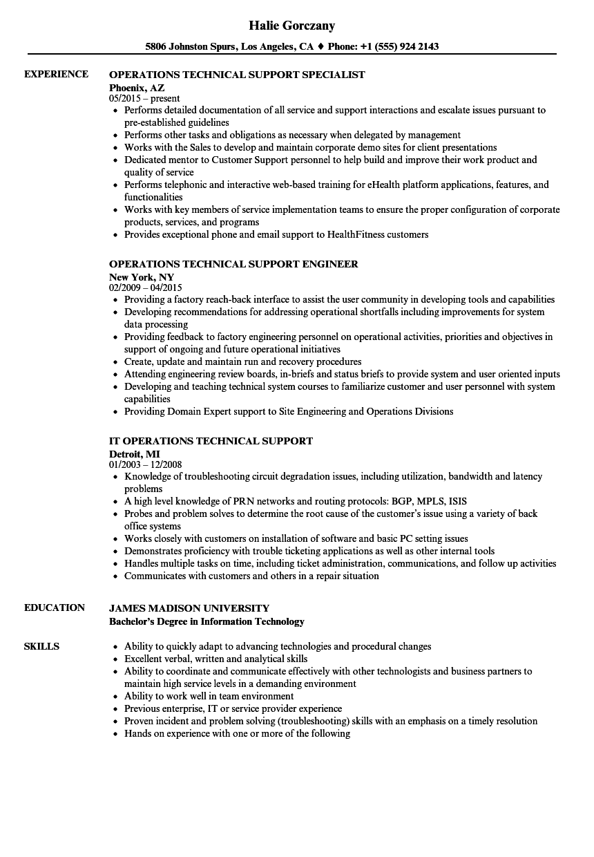 operations technical support resume samples velvet jobs