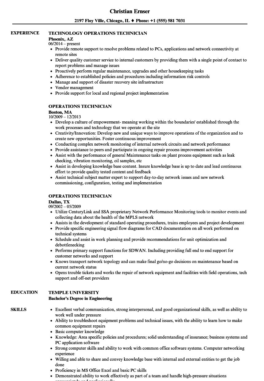 operations technician resume samples