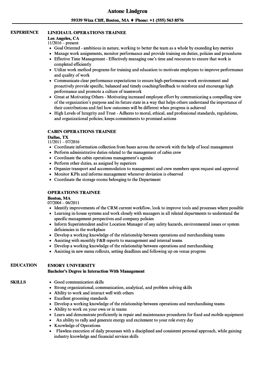 hotel management trainee resume