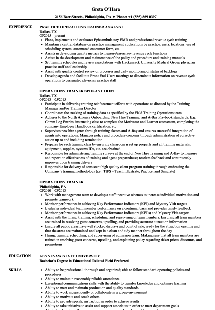 Download Operations Trainer Resume Sample As Image File
