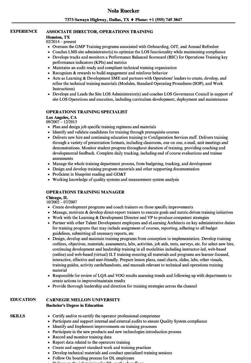 Operations training resume samples velvet jobs download operations training resume sample as image file malvernweather Image collections