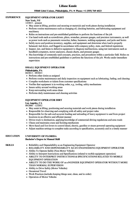 operator  equipment resume samples