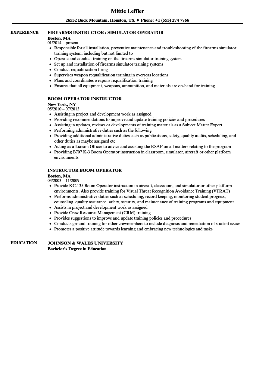 operator instructor resume samples