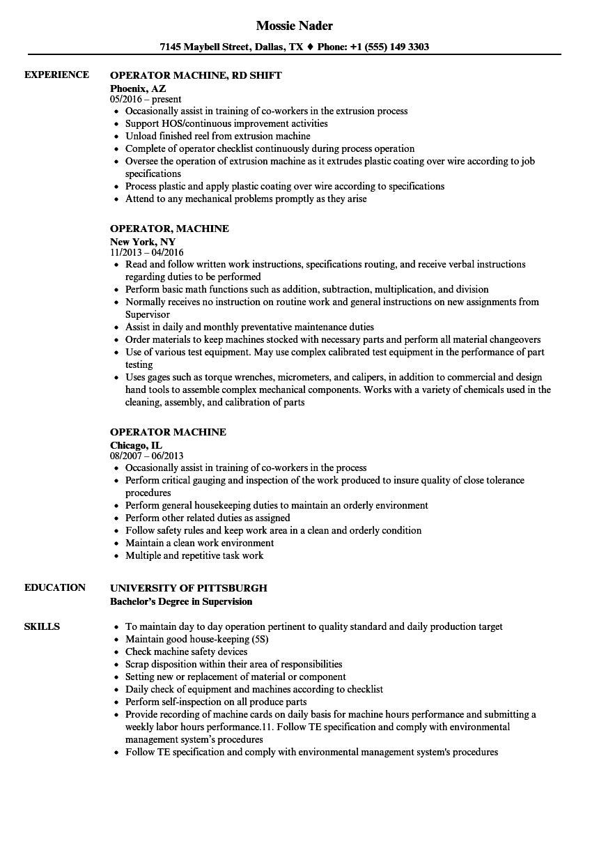 operator machine resume samples  velvet jobs