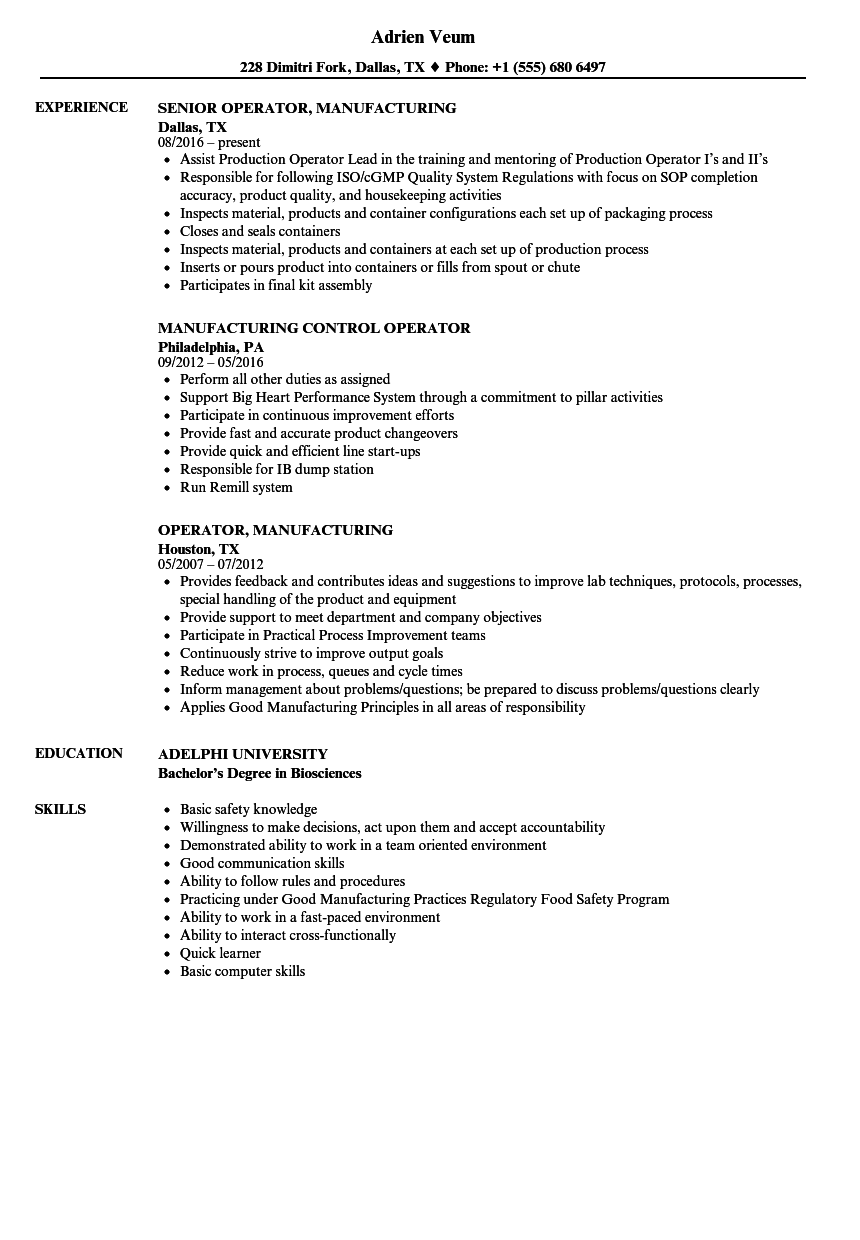 operator  manufacturing resume samples