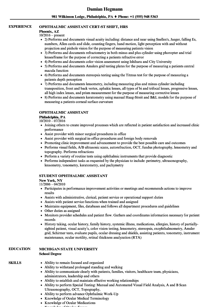 ophthalmic assistant resume samples