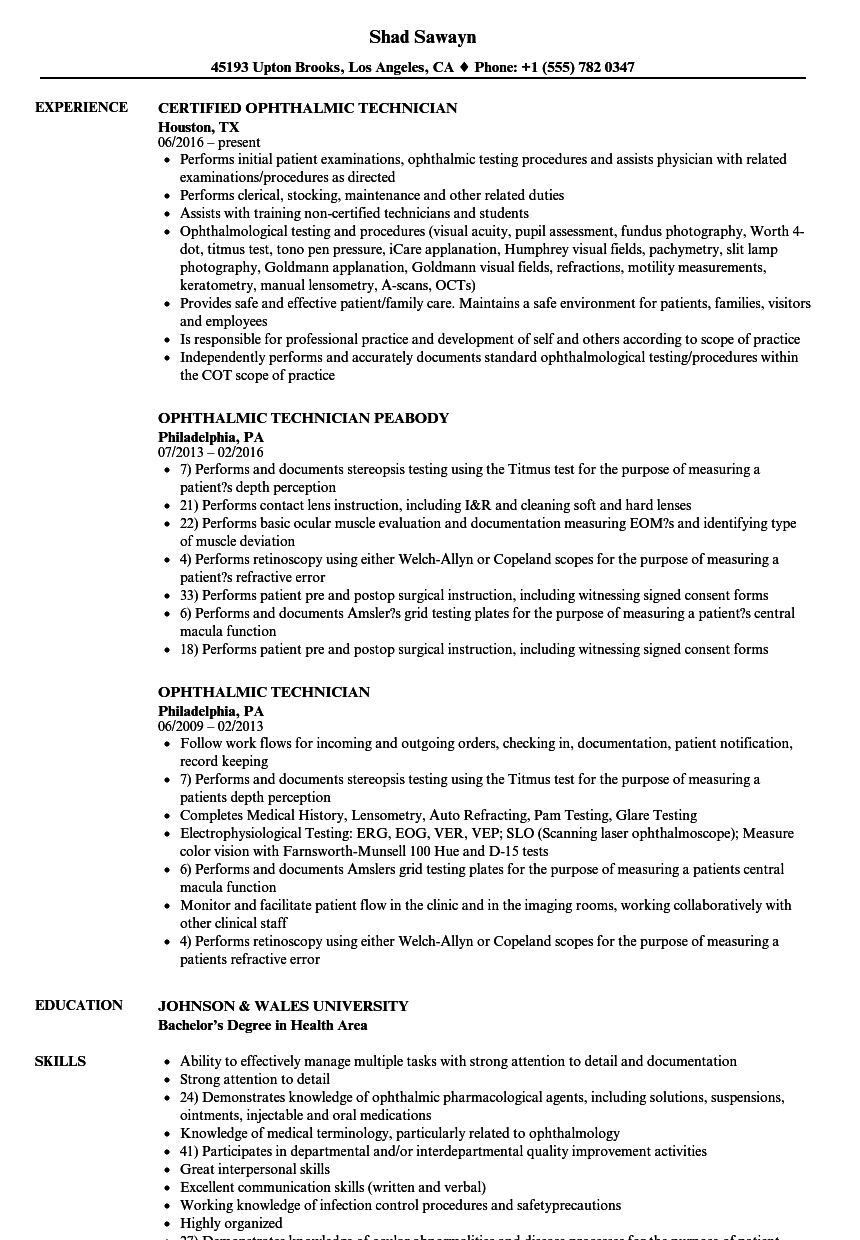Ophthalmic Technician Resume Samples | Velvet Jobs