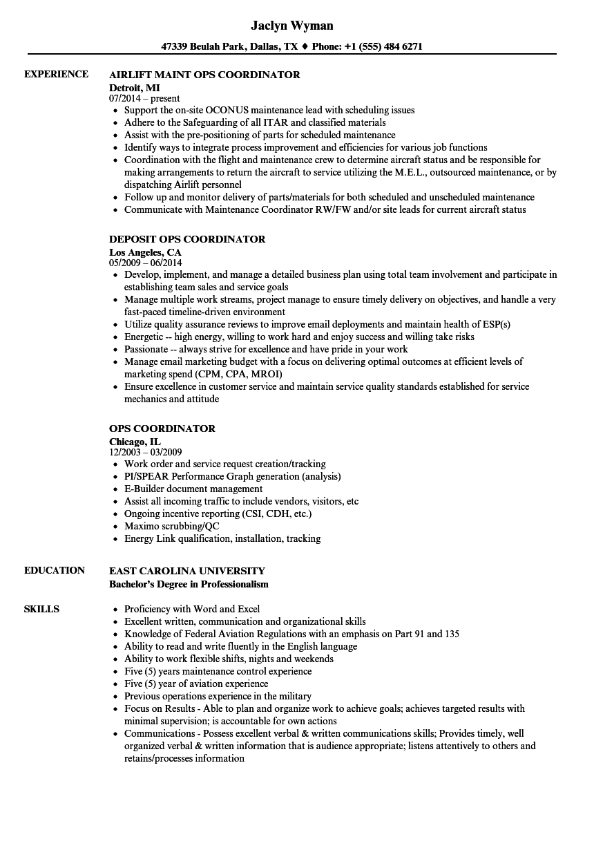 Ops Coordinator Resume Samples   Velvet Jobs