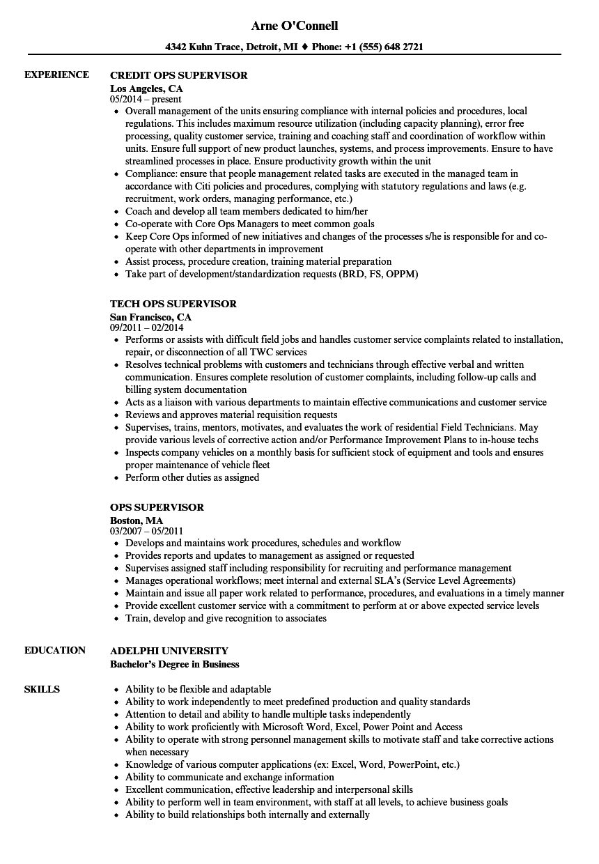 ops supervisor resume samples