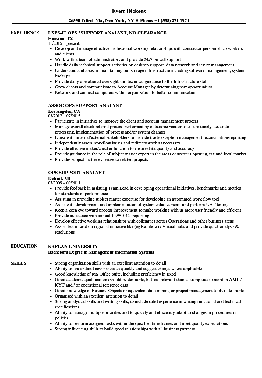 Download Ops Support Analyst Resume Sample As Image File