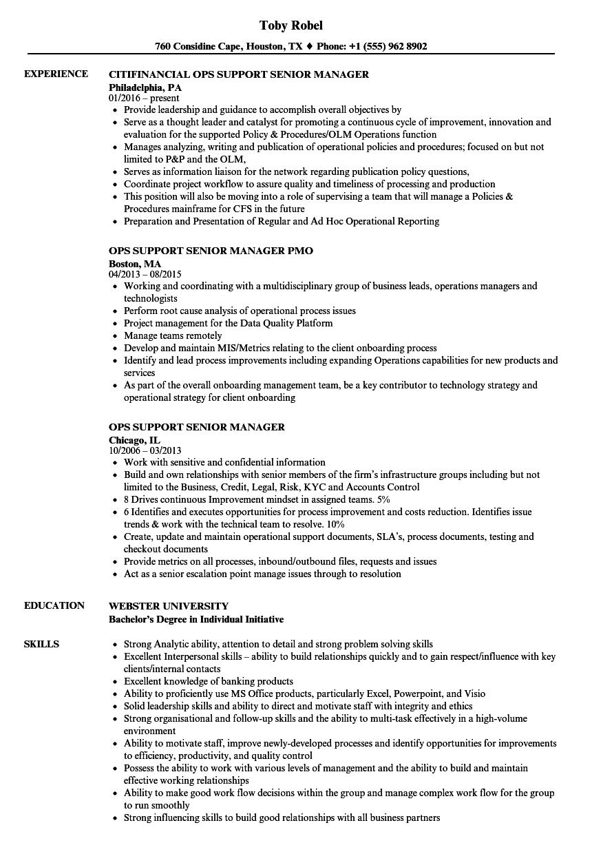 ops support senior manager resume samples