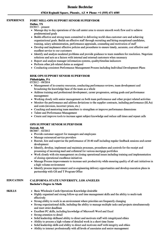 Ops Support Senior Supervisor Resume Samples Velvet Jobs