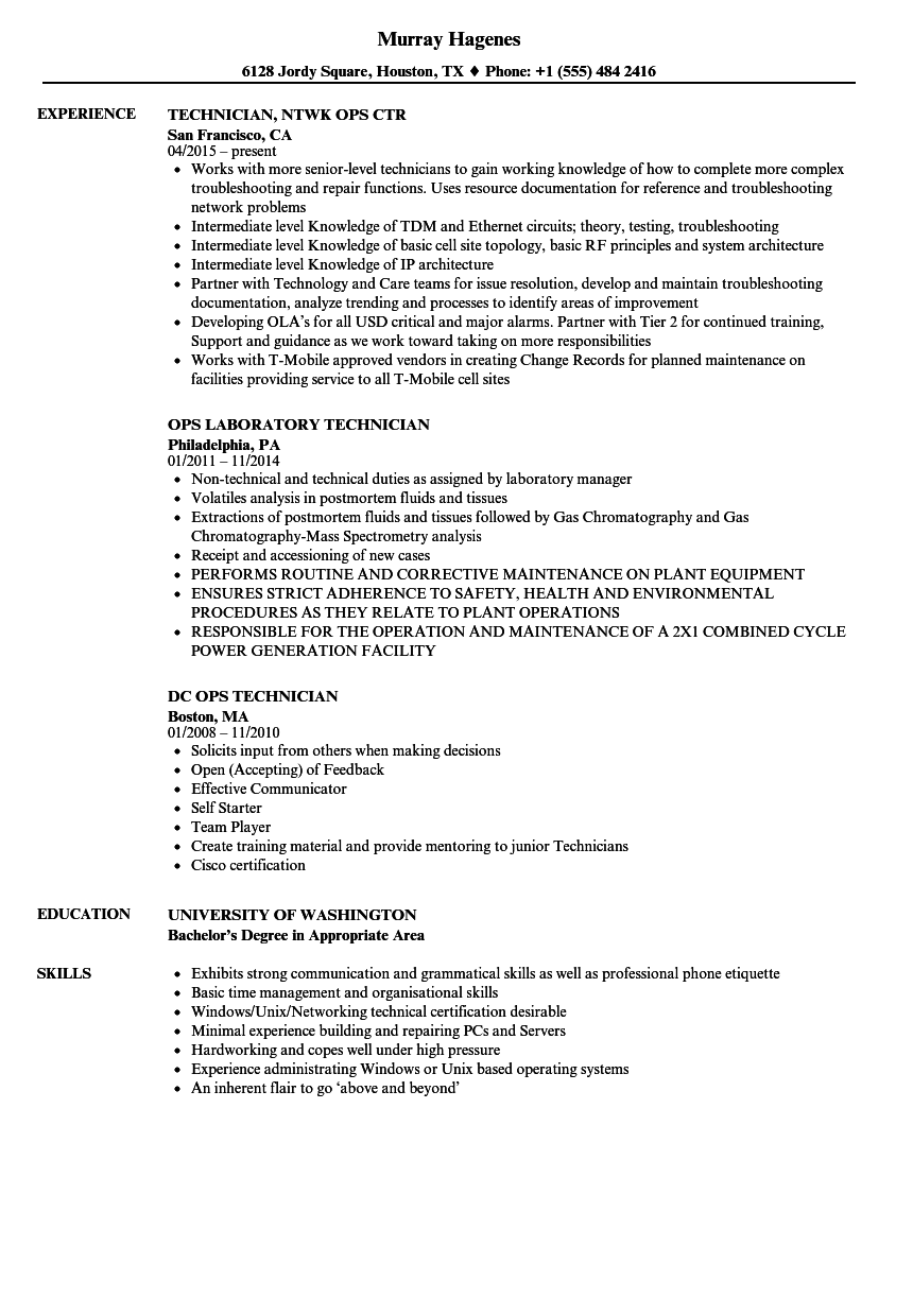 Ops Technician Resume Samples Velvet Jobs