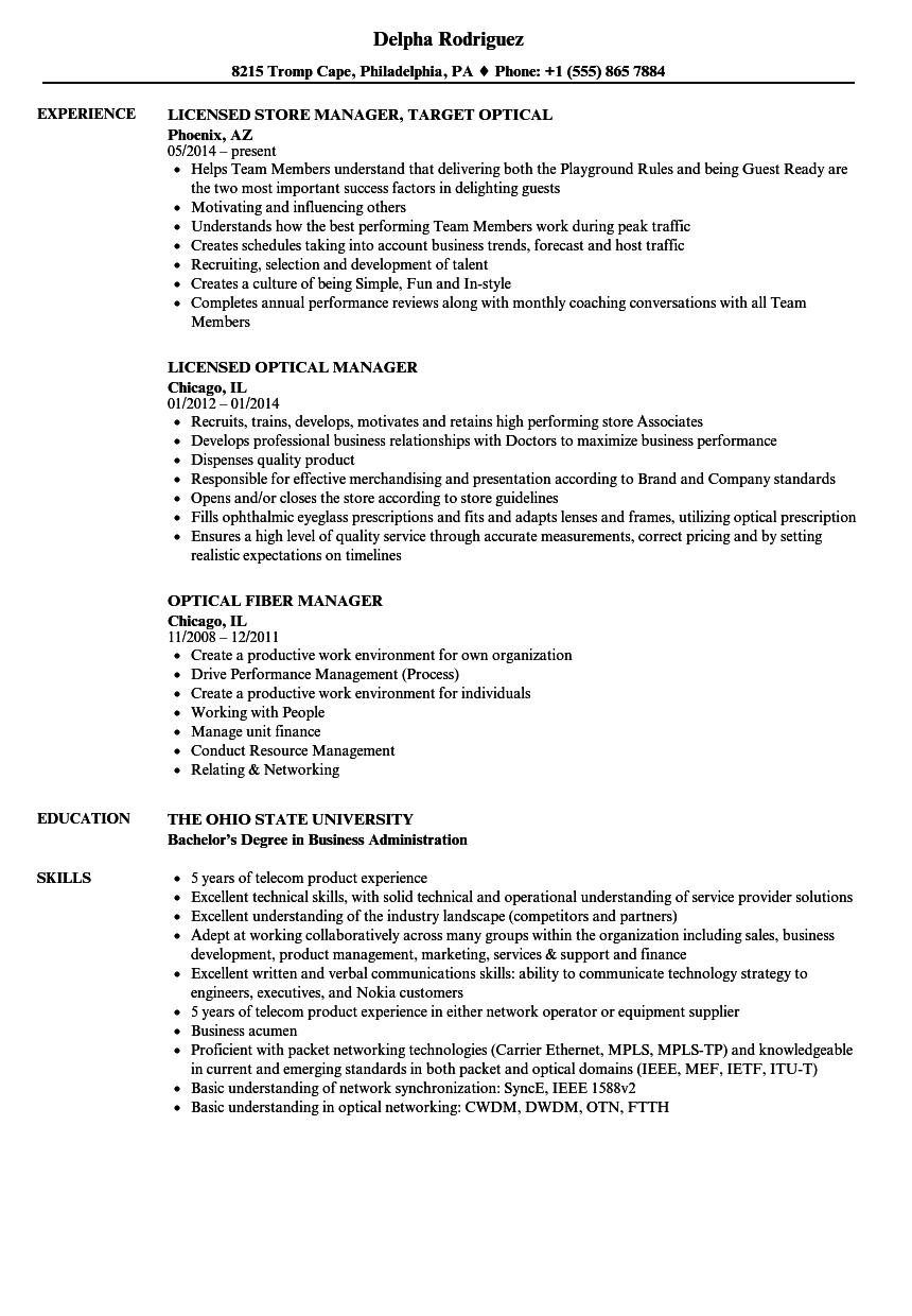 Optical Manager Resume Samples Velvet Jobs