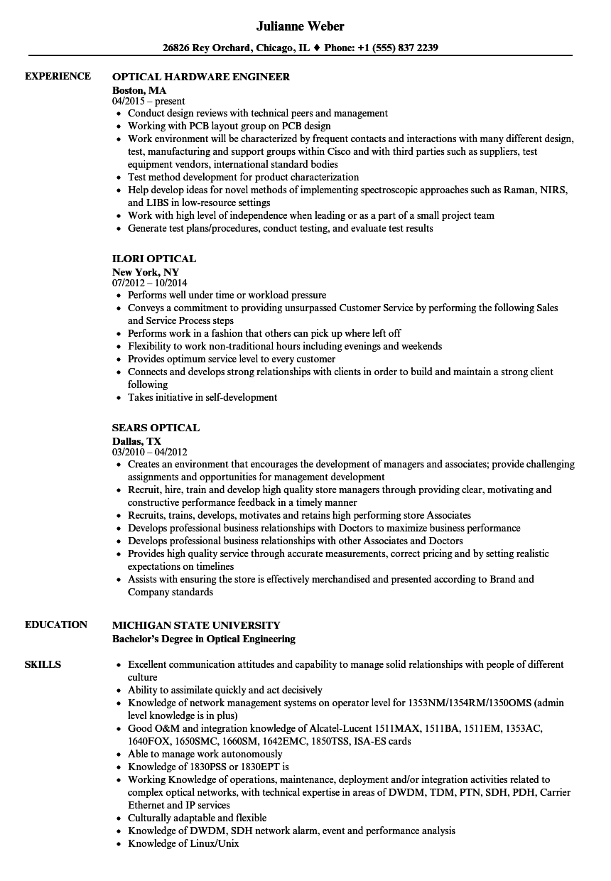 Optical Resume Samples Velvet Jobs