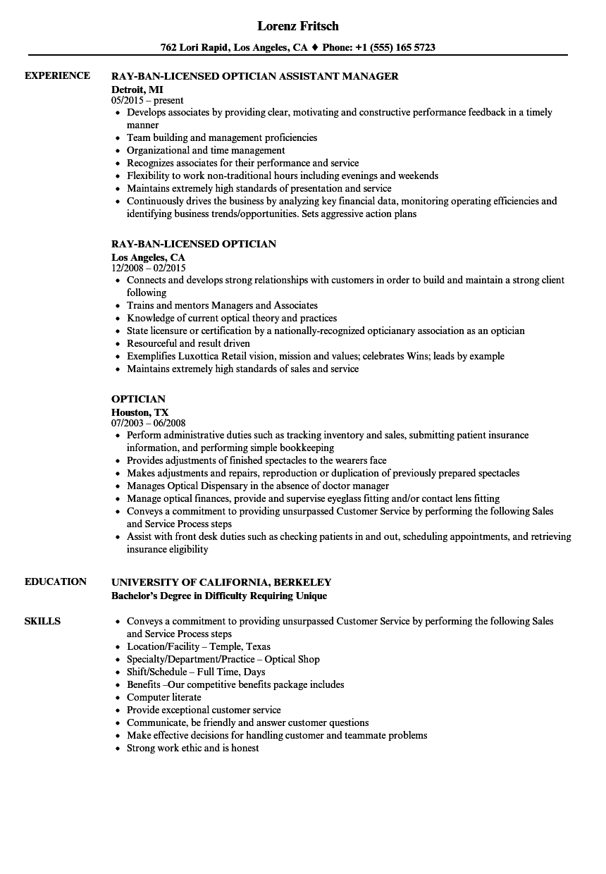 Optician Resume Samples | Velvet Jobs