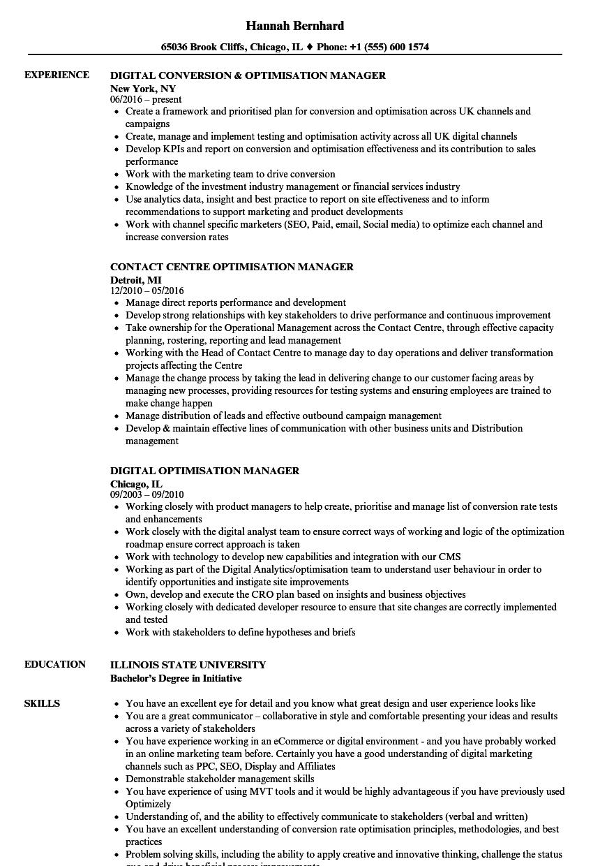 optimisation manager resume samples