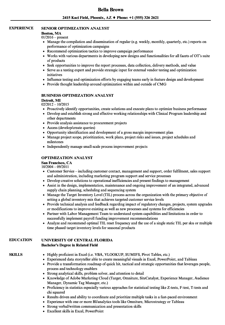 Optimization Analyst Resume Samples | Velvet Jobs